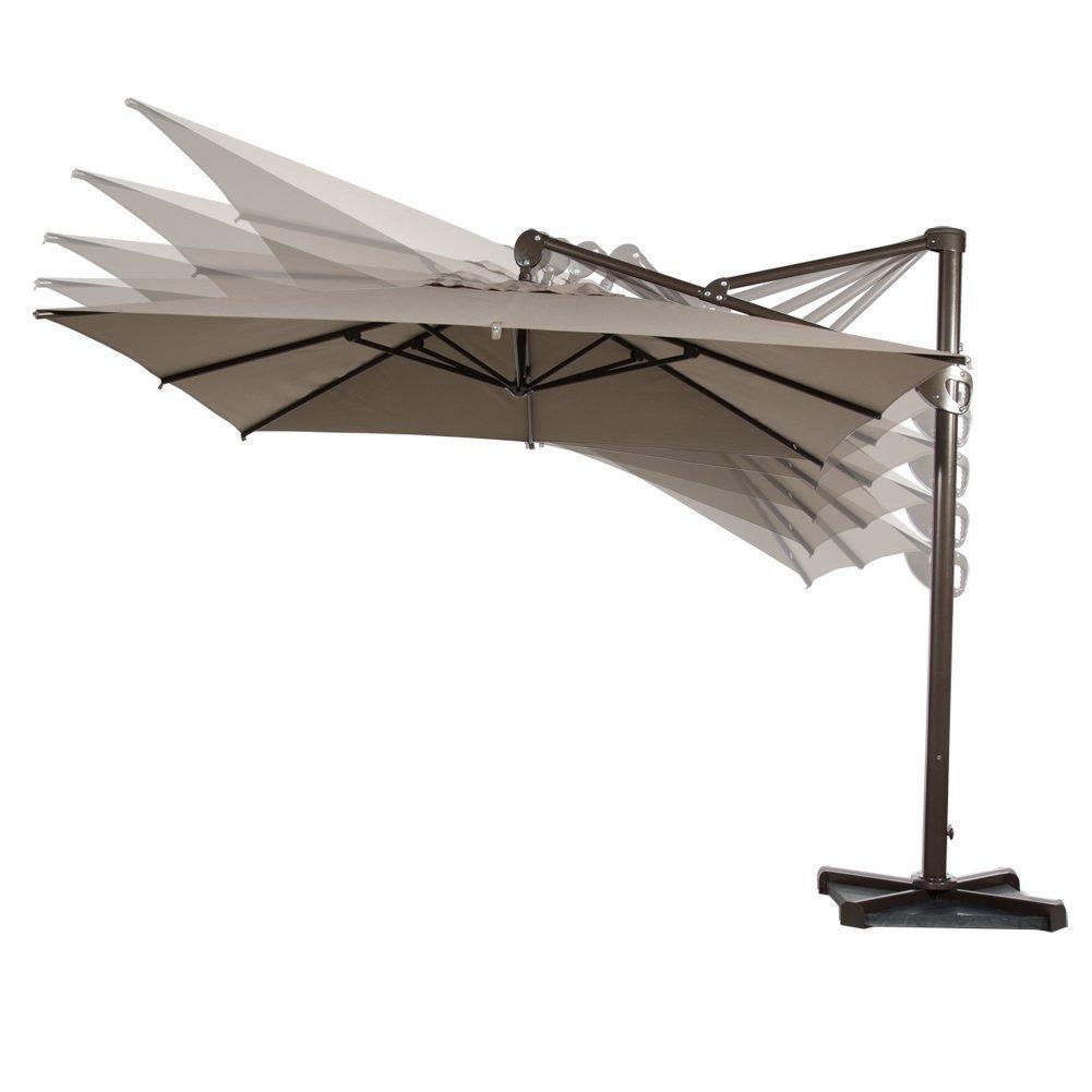 Amazon.com : Abba Patio Offset Patio Umbrella 10 Feet Hanging Rectangular  Cantilever Umbrella With Cross Base And Umbrella Cover, Tan : Garden U0026  Outdoor