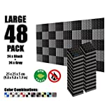 Arrowzoom 48 Pack of 25 X 25 X 5 cm Soundproofing Pyramid Acoustic Foam Studio Absorbing Sound Tiles Pads Wall Panels AZ1034 (Black & Gray)