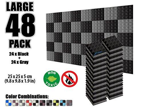 Acolchado de Espuma arrowzoom nuevo muro de 48Pack de aislamiento acústico Pirámide acústica Studio Espuma Azulejos...