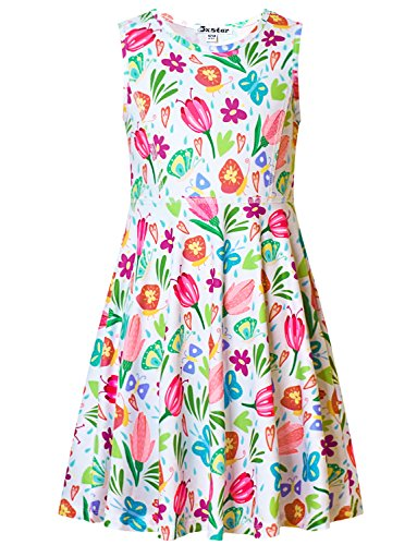 Jxstar Girl Summer Dress Sleeveless Round Neck Floral Printed Holiday Party Swing -