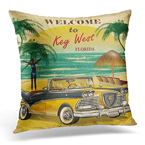 Throw Pillow Covers Vintage Welcome to Key West Florida Retro Beach Decorative Pillows Case Bedding Pillow Covers Home Decor 18 x 18 Inches