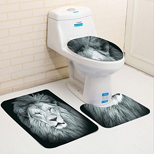 Portrait Piece 2 Toilet (Keshia Dwete three-piece toilet seat pad customSafari Collection Portrait of Huge Male African Lion Head with Fire Mane Against Dark Background Image Print Gray Black)