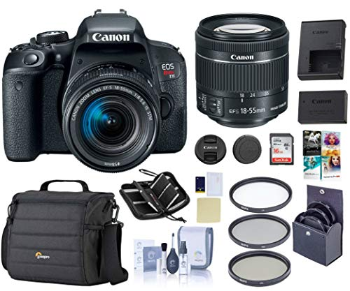 Canon EOS Rebel T7i DSLR with EF-S 18-55mm f/4-5.6is STM Lens, Black - Bundle Kit   Camera Case + 58mm Filter Kit + 16GB SD Card + Screen Protector + Cleaning Kit +Memory Wallet + PC Software Pack