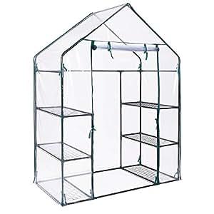 OV - Invernadero para jardín y exterior con 4 estantes para plantas