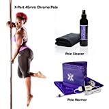 X-Pole Stay Warm Package (X-Pert 45mm Chrome Spinning/Static Portable Dance Pole + Pole Warmer + X-Clean Pole Cleaner)