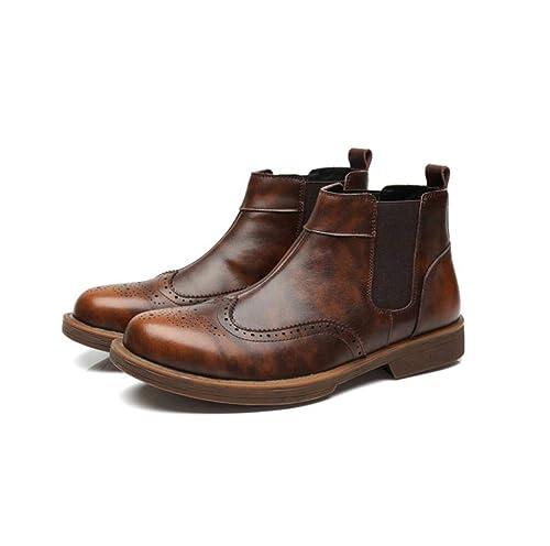 mogeek Botines Chelsea de Cuero Hombre: Amazon.es: Zapatos y complementos