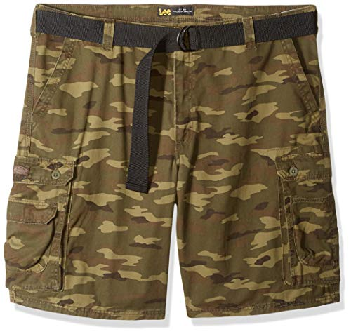 LEE Men's Big and Tall Big & Tall Dungarees New Belted Wyoming Cargo Short, Combat camo, 54