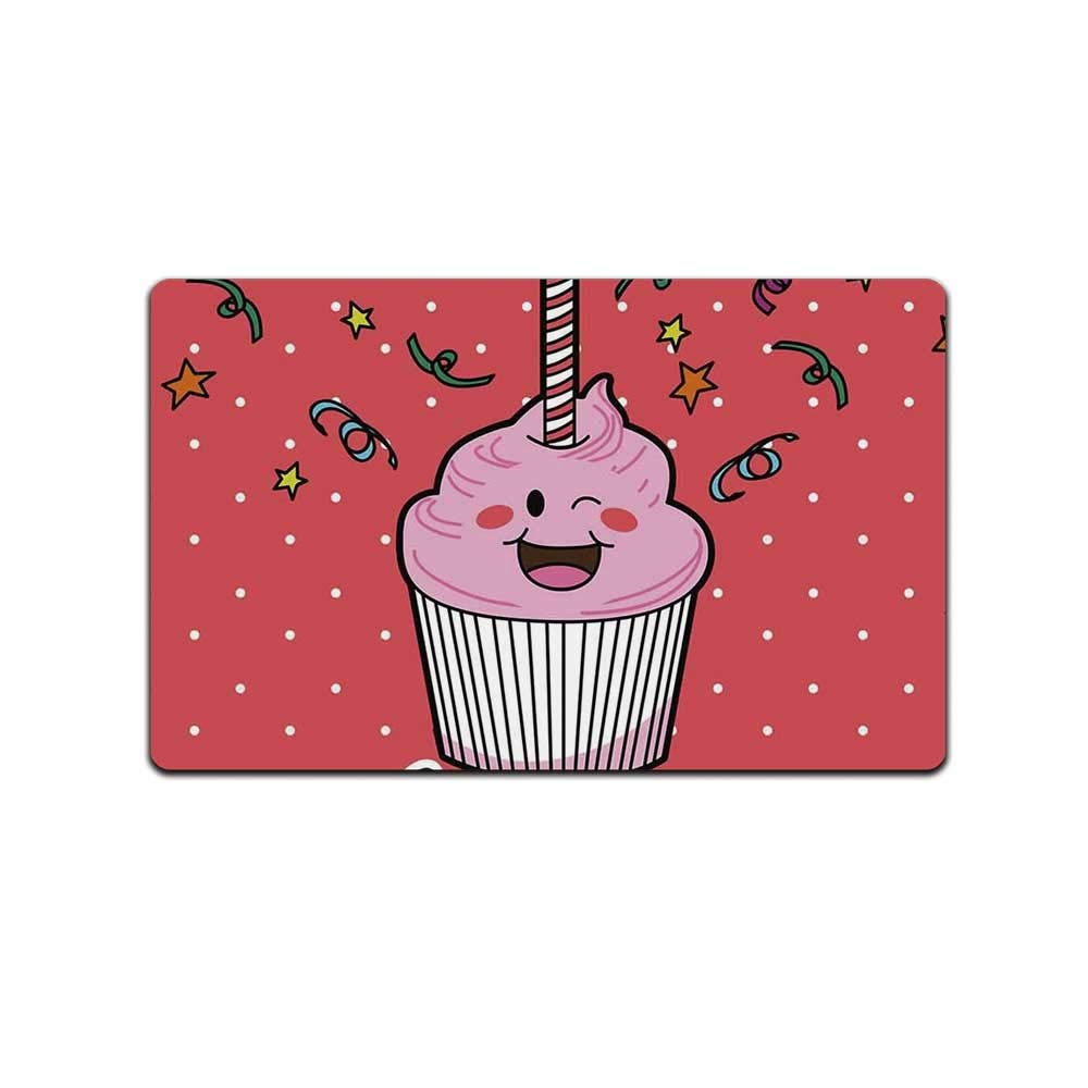 YOLIYANA Birthday Decorations Stylish Doormat,Pink Strawberry Cupcake with Candle Cute Face Confetti Bow Tie Dots for Door,31'' Lx19 W