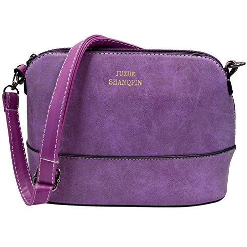 Pu Womens Cross Leather Messenger Crossbody Purple Purse Small body Handbag Bag Dull Shoulder Polish Satchel Fashion Millya RxOwqgzz