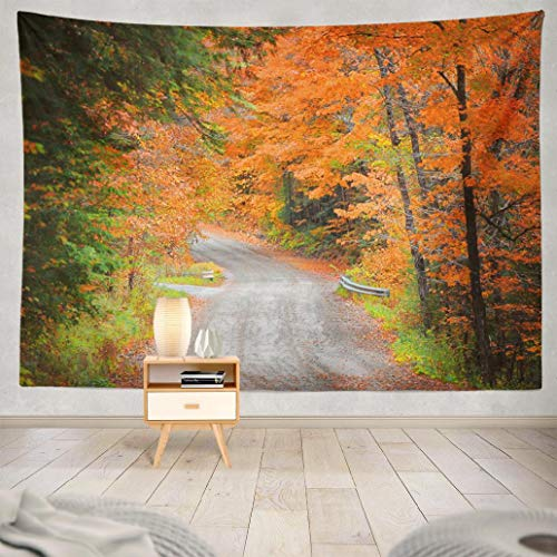 Happyome Autumn Forest Tapestry, Wall Hanging Tapestry Autumn New America Colorful England Fall Foliage Wall Tapestry Dorm Home Decor Bedroom Living Room in 80X60