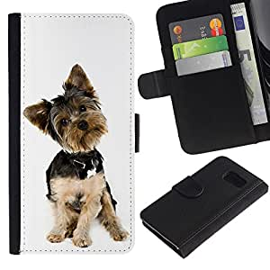 eJoy---La carpeta del tirón la caja de cuero de alta calidad de la PU Caso protector - Samsung Galaxy S6 - --Yorkshire Terrier White Small Dog Puppy