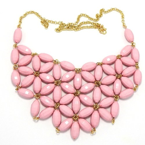 - Pro Jewelry Bib Bauble Necklace in Gold w/ Pink Star Design Faceted Barrel Acrylic Beads 0002-10