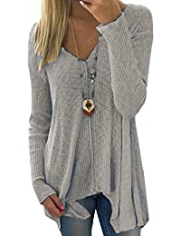 Womens Tops Autumn Casual Plus Size V-Neck Loose Pullover Sweaters
