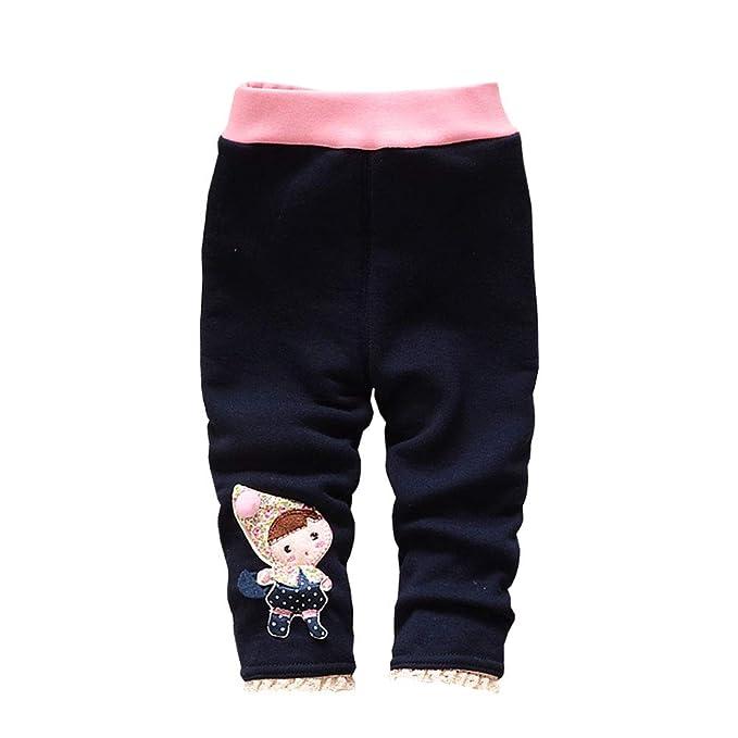 YFPICO Beb/é Ni/ñas Leggings Invierno con Estampado de Chica Pantalones El/ásticos Gruesos Leggins de Algod/ón para Oto/ño