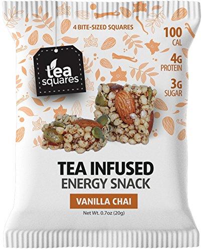 Superfood Energy Bar (Vanilla Chai Tea - 12 count) - Focus and Energy - Caffeinated - Organic Tea - Gluten Free - Vegan - Snack and Protein Bar - Tea Squares