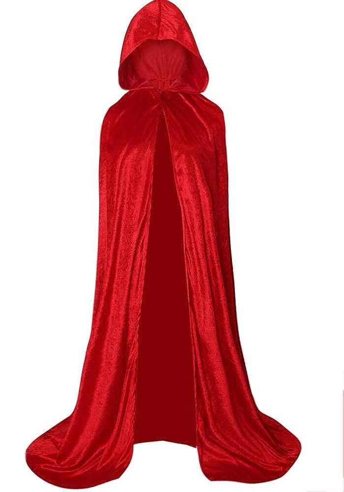 Unisex Costume Cloak Full Length Crushed Velvet Hooded Cape Poncho
