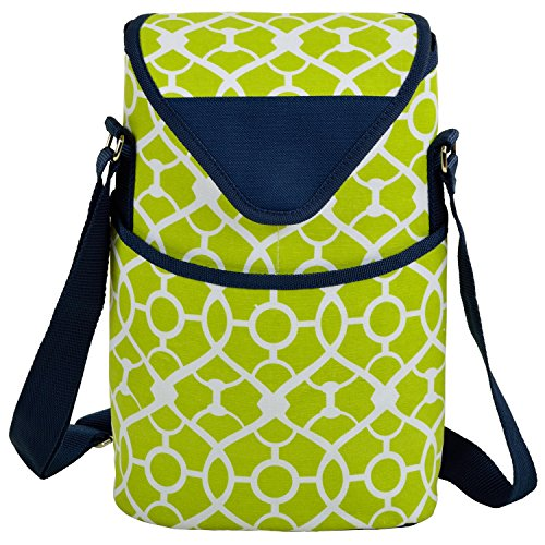 Picnic Gift Green (Picnic at Ascot Insulated Wine/Water Bottle Tote with Shoulder Strap -  Trellis Green)