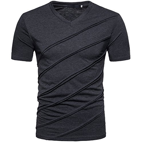 (Cottory Mens Short Sleeve Diagonal Stripe V-Neck T Shirts Tops Dark Gray X-Large)
