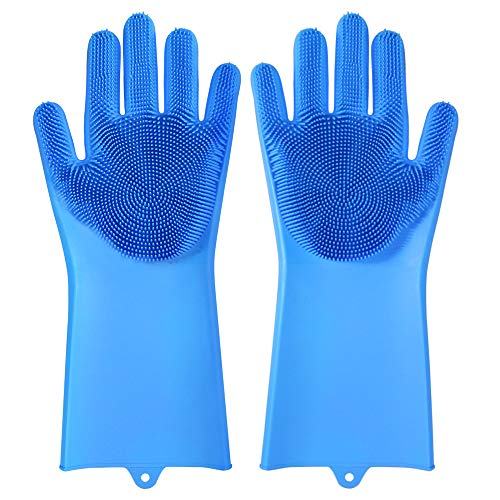 Magic Silicone Gloves Dishwashing Gloves Eco-Friendly Scrubber Cleaning for Multipurpose Kitchen Bed Bathroom Care (Blue)