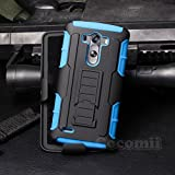 LG G3 Case, Cocomii Robot Armor NEW [Heavy Duty] Premium Belt Clip Holster Kickstand Shockproof Hard Bumper Shell [Military Defender] Full Body Dual Layer Rugged Cover (Blue)