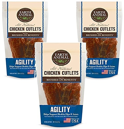 - Earth Animal Agility Chicken Cutlets Treats 8oz (3 Pack)