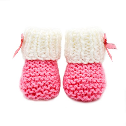 Pictures of Magic Needles Hand Knit Crochet Turkish Yarn Baby Booties - 4070 (3-6 Mths Toe to Heel 11 cms) Pink/White 4