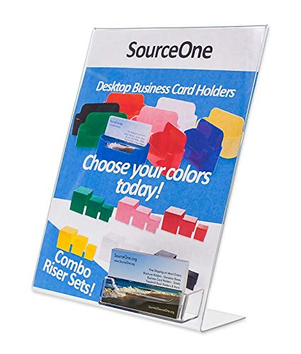 Source One Acrylic 8.5 x 11 Inches Slanted Sign Holders with Business Card Holder (3 Pack)