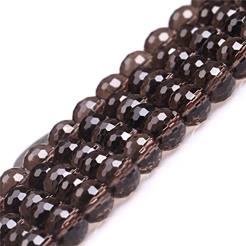 (JOE FOREMAN 8mm Smoky Quartz Semi Precious Gemstone Round Faceted Loose Beads for Jewelry Making DIY Handmade Craft Supplies 15