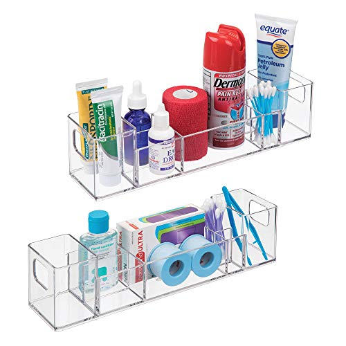 mDesign Bathroom Vanity Countertop Multi-Level Organizer for Cosmetics, Makeup, First-Aid, Medicine - Pack of 2, Clear