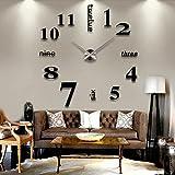 Etiqueta engomada del arte, Reloj de Pared Creativo de Gran Tamaño Diy Espejo Reloj de Pared 3D Decoración Del Hogar Moderno Espejo Pegatinas Sala de estar extraíble