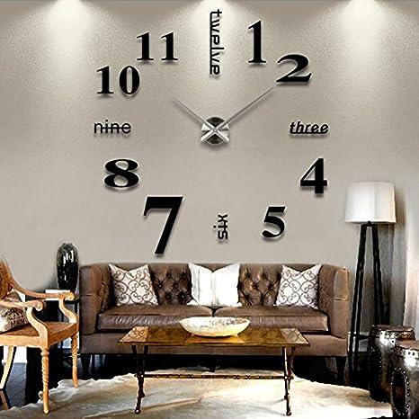 Auntwhale 3D DIY reloj de pared moderno sin marco grande 3D DIY reloj de pared Kit