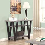 Coaster 2 Shelf Console Table in Antique Gray and Black