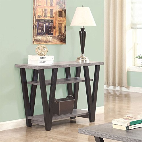 coaster-2-shelf-console-table-in-antique-gray-and-black