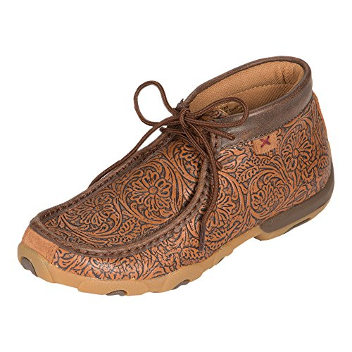 (Twisted X Women's Tooled Driving Moccasin Shoes Moc Toe Tan 10 M)