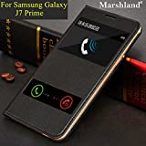 Samsung Galaxy J7 Prime Flip Cover Black Double Window Special Designer PU Leather Flip Cover Case For J7 Prime By Marshland®