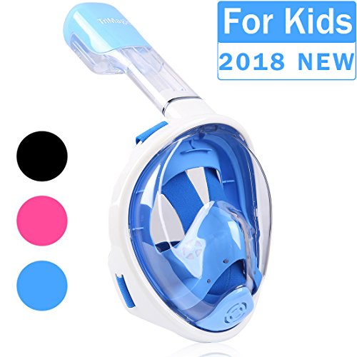 Snorkel Mask, TriMagic 180° Panoramic Full Face Design with Larger Viewing Area - Easier Breathing and GoPro Compatible with Anti-Fog and Anti-Leak, for Both Kids and Adult