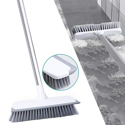 2 in 1 Cleaning Scrub Shower Brush, Soft Durable Shower Floor Scrubber with Adjustbale Long Handle, Tub and Tile Brush…