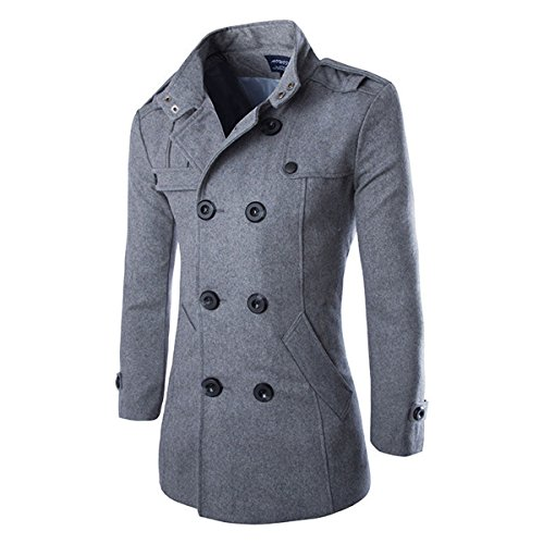 Youzee Mens Slim Wool Blends Double Breasted Trench Coat Warm Jacket Long Parka Peacoat (XL, Gray)