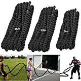 Chaungrong Black 1.4''/1.9'' Diameter, Poly Dacron 39ft Length Battle Rope Workout Training Undulation Rope Fitness Exercise Rope,Boxing Equipment(1.4''Diameter)