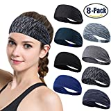 Set of 8 Women's Yoga Sport Athletic Workout Headband For Running Sports Travel Fitness Elastic Wicking Non Slip Lightweight Multi Style Bandana Headbands Headscarf fits all Men & Women