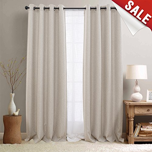 jinchan Linen Textured 108 inch Long Room Darkening Greyish Beige Moderate Curtains for Bedroom Moderate Light Reducing & Thermal Insulating Curtain Panel One Panel (Curtains Inch 108 Wide)
