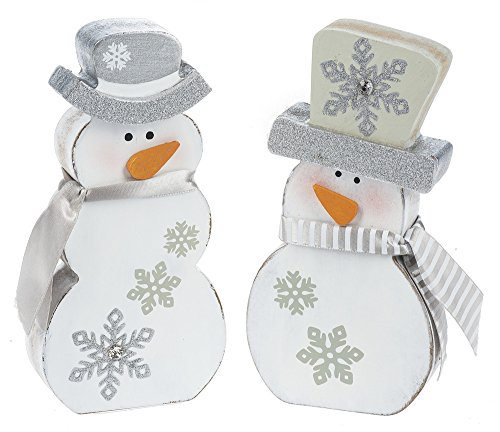 Set of 2 Shimmer Snowman Wooden Figurines with Silver Fabric -