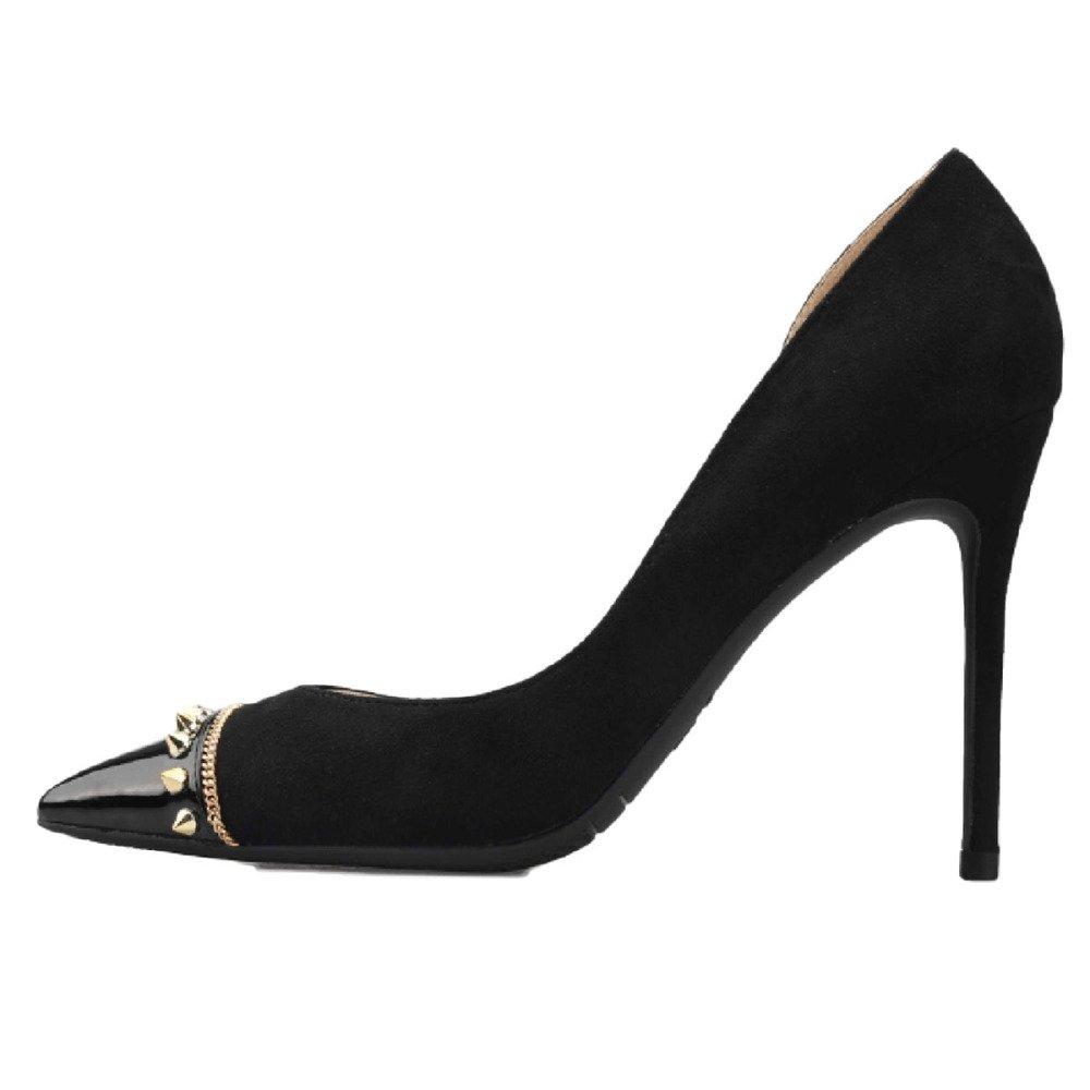 Zapatos De Tacón Alto Puntiagudos Puntiagudos Puntiagudos para Mujeres Zapatos De Trabajo En Punta Zapatos De Remaches Atractivos Boca Baja Bombas De Aire Laterales,Negro-10cm-42 41c7b1