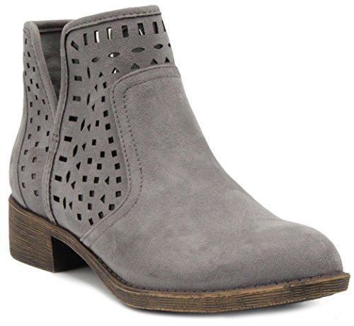 - Sugar Women's Calico Ankle Bootie Boot with Perferated Chop Out Design Grey Fabric 8.5