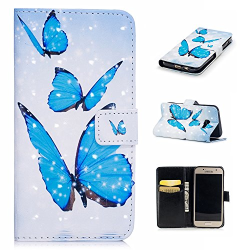 Galaxy A5 2017 Wallet Case,Galaxy A5 2017 3D Effect Flip Case,Leecase Blue Butterfly Painted Luxury Shiny Magnetic Closure Bookstyle Case Cover for Samsung Galaxy A5 2017-Blue Butterfly