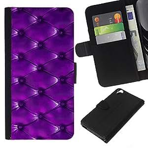 WINCASE Cuadro Funda Voltear Cuero Ranura Tarjetas TPU Carcasas Protectora Cover Case Para HTC Desire 820 - botón de patrón de cuero púrpura