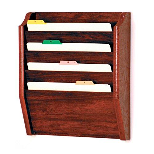 Wooden Mallet 4-Pocket File Holder, Legal Size, Mahogany
