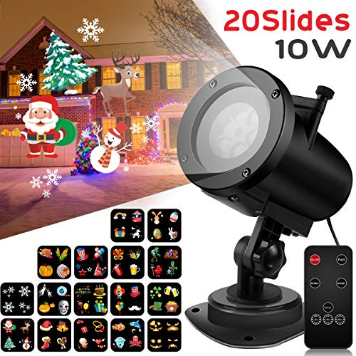Syslux LED Projector Lights,20 Excluxive Design Slides Garden Lighting IP65 Waterproof Landscape Motion Projection Light with Remote Control for Garden Ballroom,Party,Halloween,Landscape Decorative