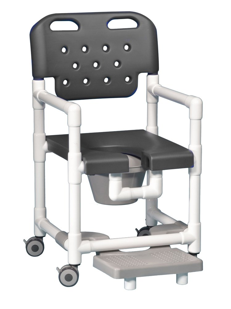 Elite Shower Chair Commode with Footrest ELT820 P FR (Gray)