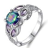 Slendima Trendy Colorful Rhinestone Silver Plate Ring Women Engagement Bridal Jewelry Gift Colorful US 7
